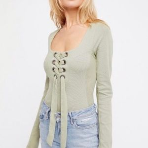 Free People Looking Back Lace Up Long Sleeve